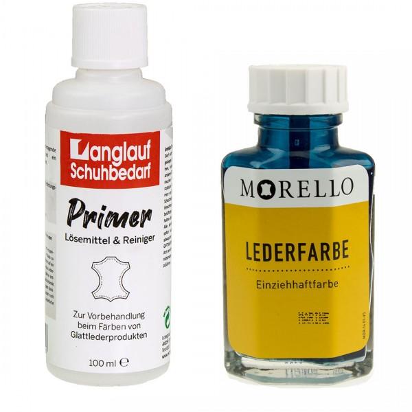 Morello Lederfarbe 40 ml marine und Langlauf Leder Reiniger 100ml im SET