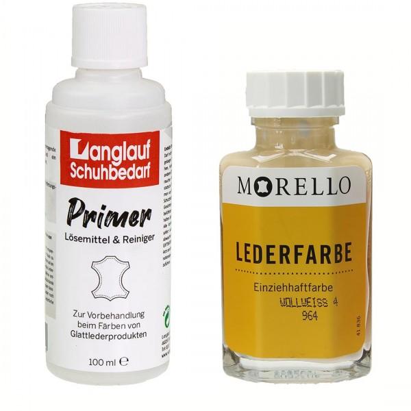 Morello Lederfarbe 40 ml wollweiss und Langlauf Leder Reiniger 2 x 100ml im SET