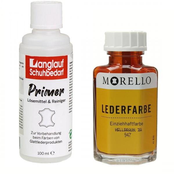 Morello Lederfarbe 40 ml hellbraun und Langlauf Leder Reiniger 100ml im SET