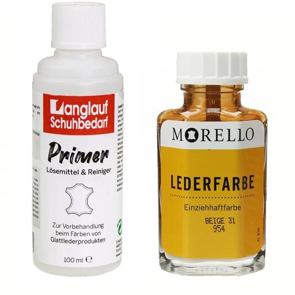 Morello Lederfarbe 40 ml beige und Langlauf Leder Reiniger 100ml im SET