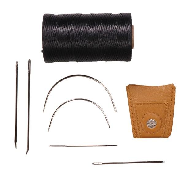 Nähset für Leder mit 6 Nadeln Garn Fingerhut