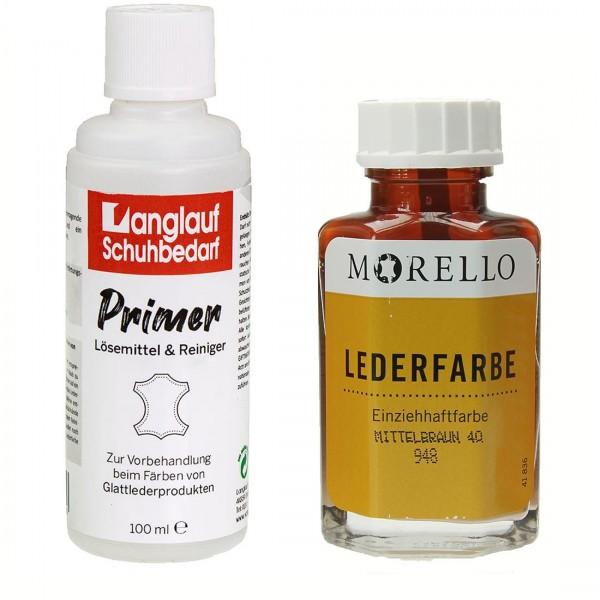 Morello Lederfarbe 40 ml mittelbraun und Langlauf Leder Reiniger 100ml im SET