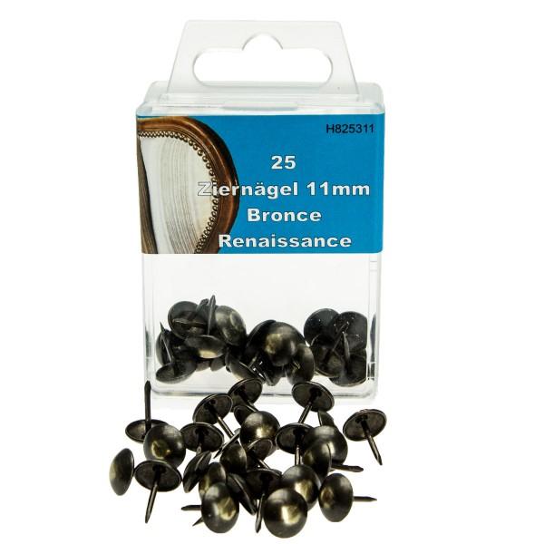 25 Ziernägel 11mm bronzefarben Polsternägel Polstereibedarf