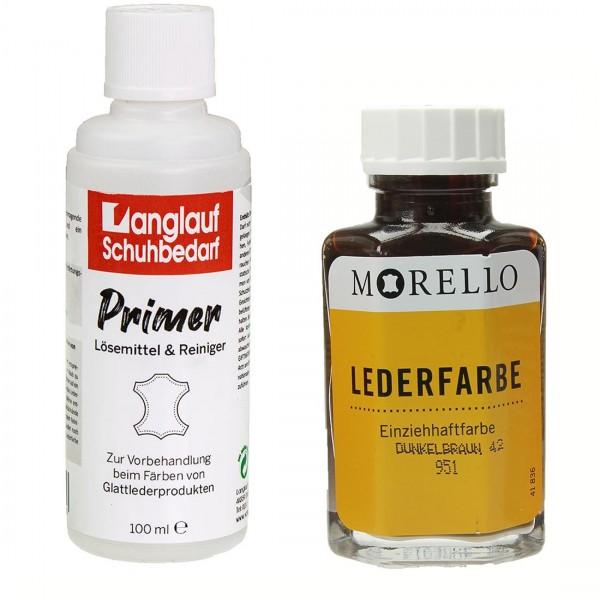 Morello Lederfarbe40 ml dunkelbraun und Langlauf Leder Reiniger 100ml im SET