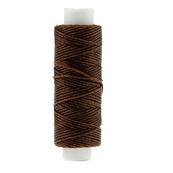 Ledergarn dunkelbraun aus Polyester stark gewachst zum Handnähen