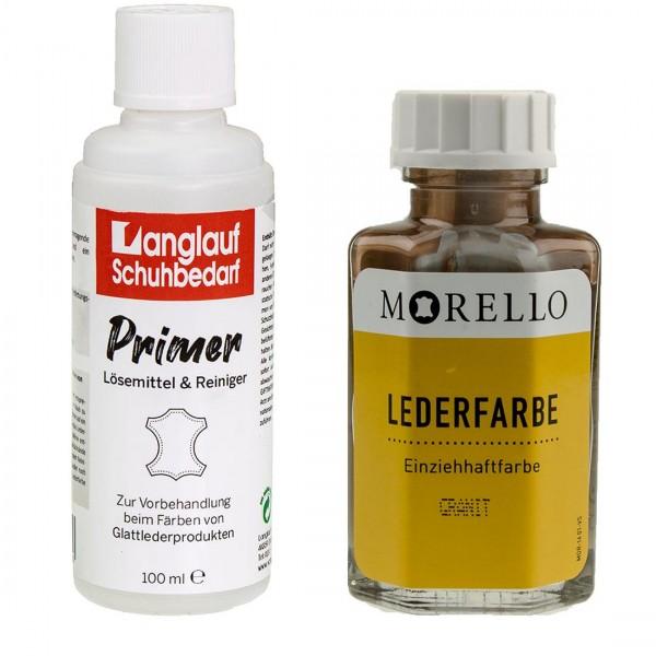 Morello Lederfarbe granit und Langlauf Leder Reiniger 100ml im SET