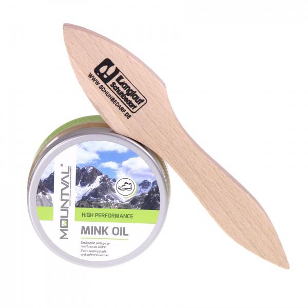 Mountval Mink Oil – Lederöl & hochwertiges Lederfett/Schuhfett incl Auftragsbürste hell