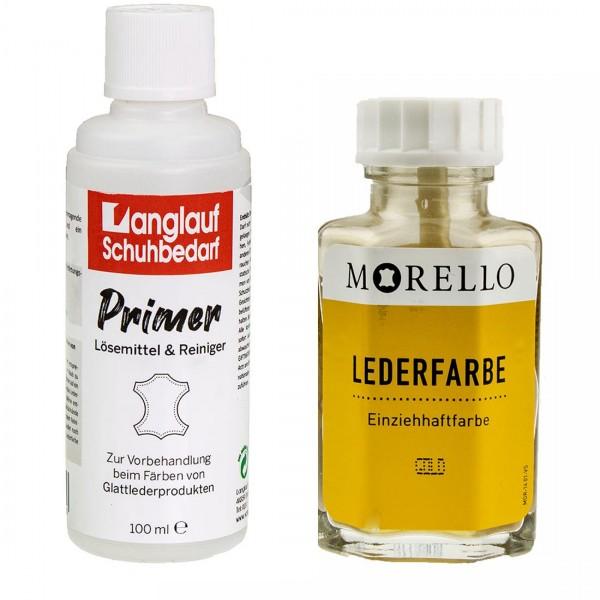 Morello Lederfarbe 40 ml gold und Langlauf Leder Reiniger 100ml im SET