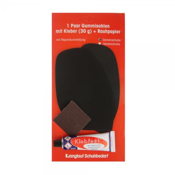 Besohlgarnitur Schonsohle schwarz für die Reparatur von Damenschuhen