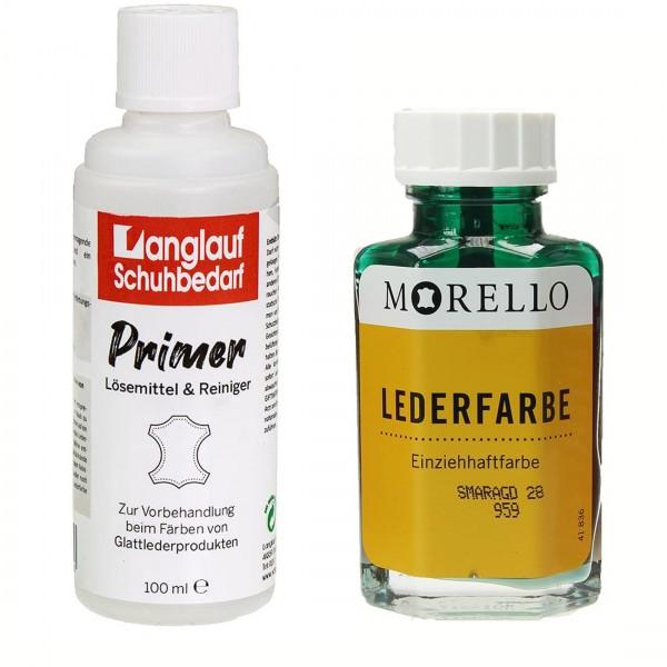 Morello Lederfarbe 40 ml smaragd und Langlauf Leder Reiniger 100ml im SET