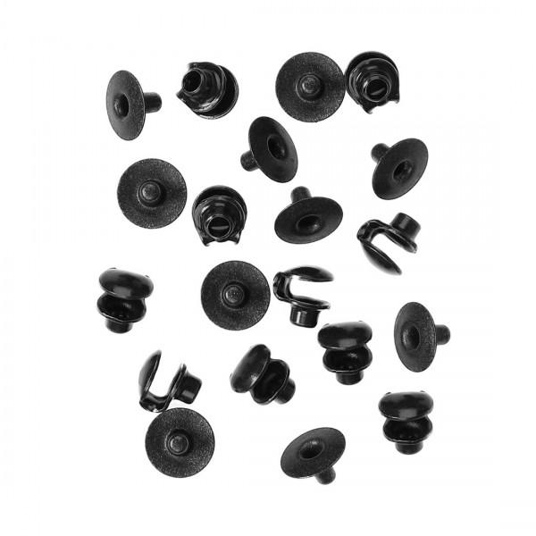 10x Agraffen - Schnürhaken aus Metall (73/116) schwarz
