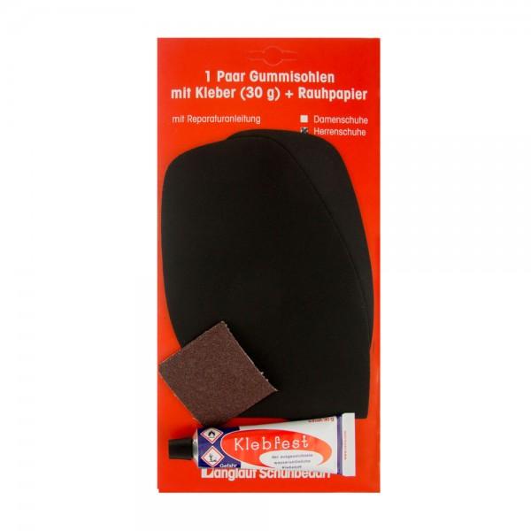 Besohlgarnitur Schonsohle schwarz mit Pyramidenprofil für die Reparatur von Herrenschuhen