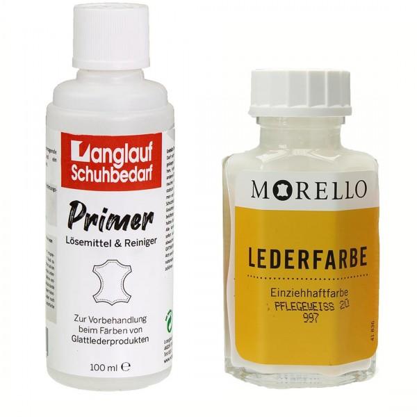 Morello Lederfarbe pflegeweiss und Langlauf Leder Reiniger 100ml im SET