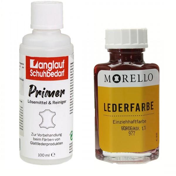 Morello Lederfarbe 40 ml bordeaux und Langlauf Leder Reiniger 100ml im SET