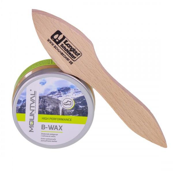 Mountval B-Wax – Imprägnierwachs & Schuhwachs + Auftragsbürste hell