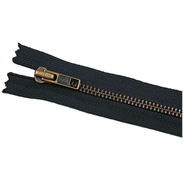 YKK schwarz / brüniert Metall Reißverschluss VT10 (Länge wählbar)