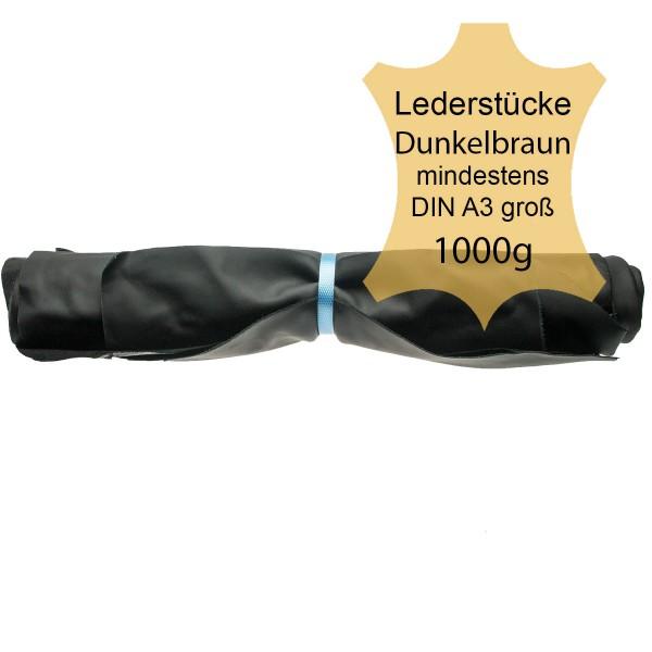 Lederstücke,1kg dunkelbraun DIN A3