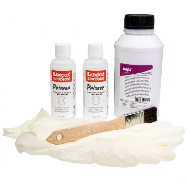 Kaps Super Color Lederfarbe 500ml + Pinsel + 2x Primer + Handschuhe