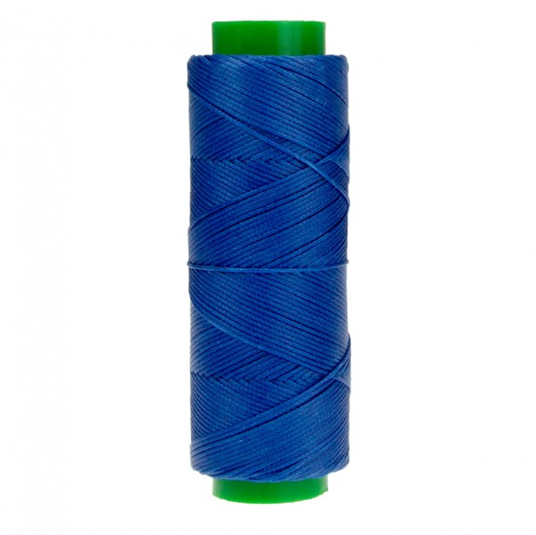 Ledergarn königsblau aus Polyester stark gewachst 100m