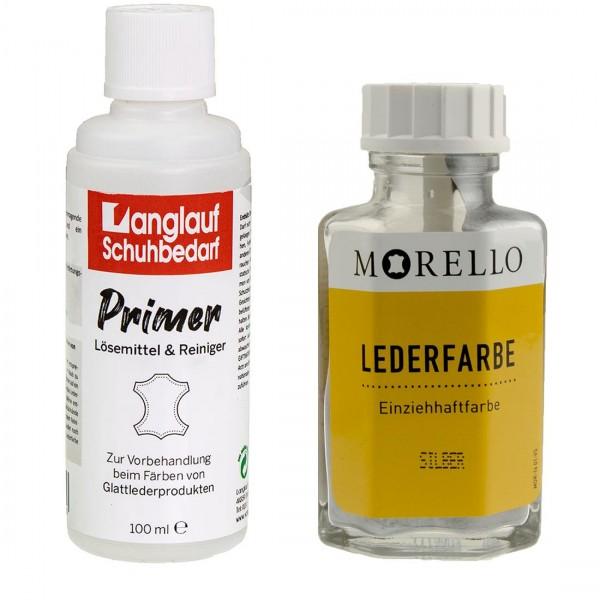 Morello Lederfarbe 40 ml silber und Langlauf Leder Reiniger 100ml im SET