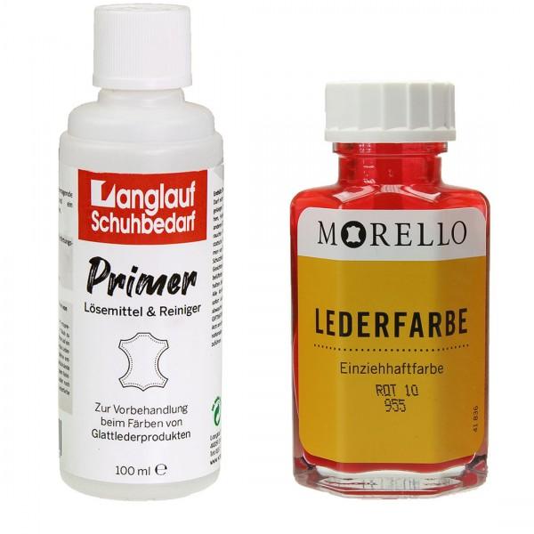 Morello Lederfarbe 40 ml rot und Langlauf Leder Reiniger 100ml im SET