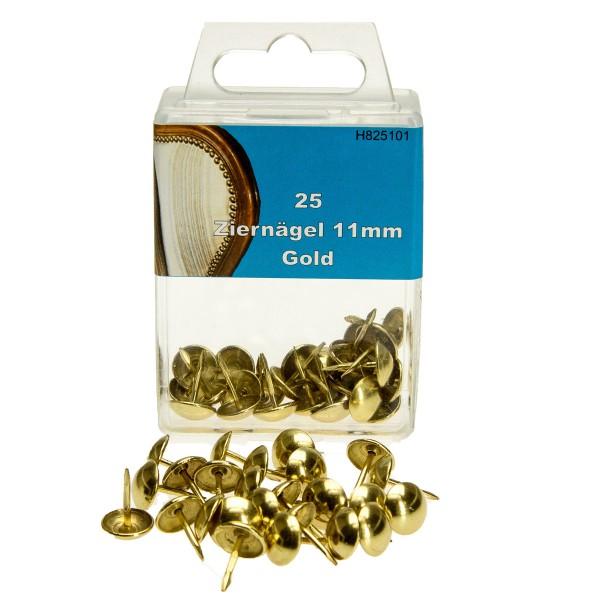 25 Ziernägel 11mm Gold Polsternägel Polstereibedarf